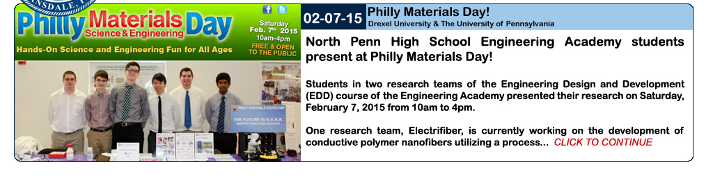 NPHS engineering academy students to present at Philly Materials Day.