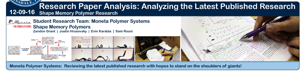 Research Team Moneta Polymer Systems: Reviewing the latest pblished Shape Memory Polymer papers!